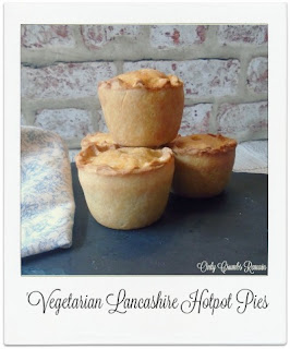 These individual vegetarian pies are inspired by the Lancashire hotpot.  The straightforward hotwater crust pastry is filled with layers of potato, quorn and carrot & swede mash.