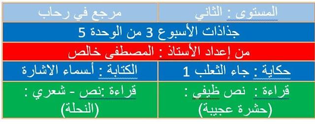 جذاذات المستوى الثاني اللغة العربية للأسبوع الثالث من الوحدة 5 مرجع في رحاب اللغة العربية