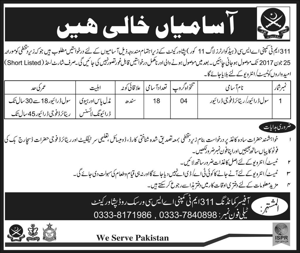 Jobs In Pak Army 311 MT Company ASC Peshawar Cantt 14 Jun 2017