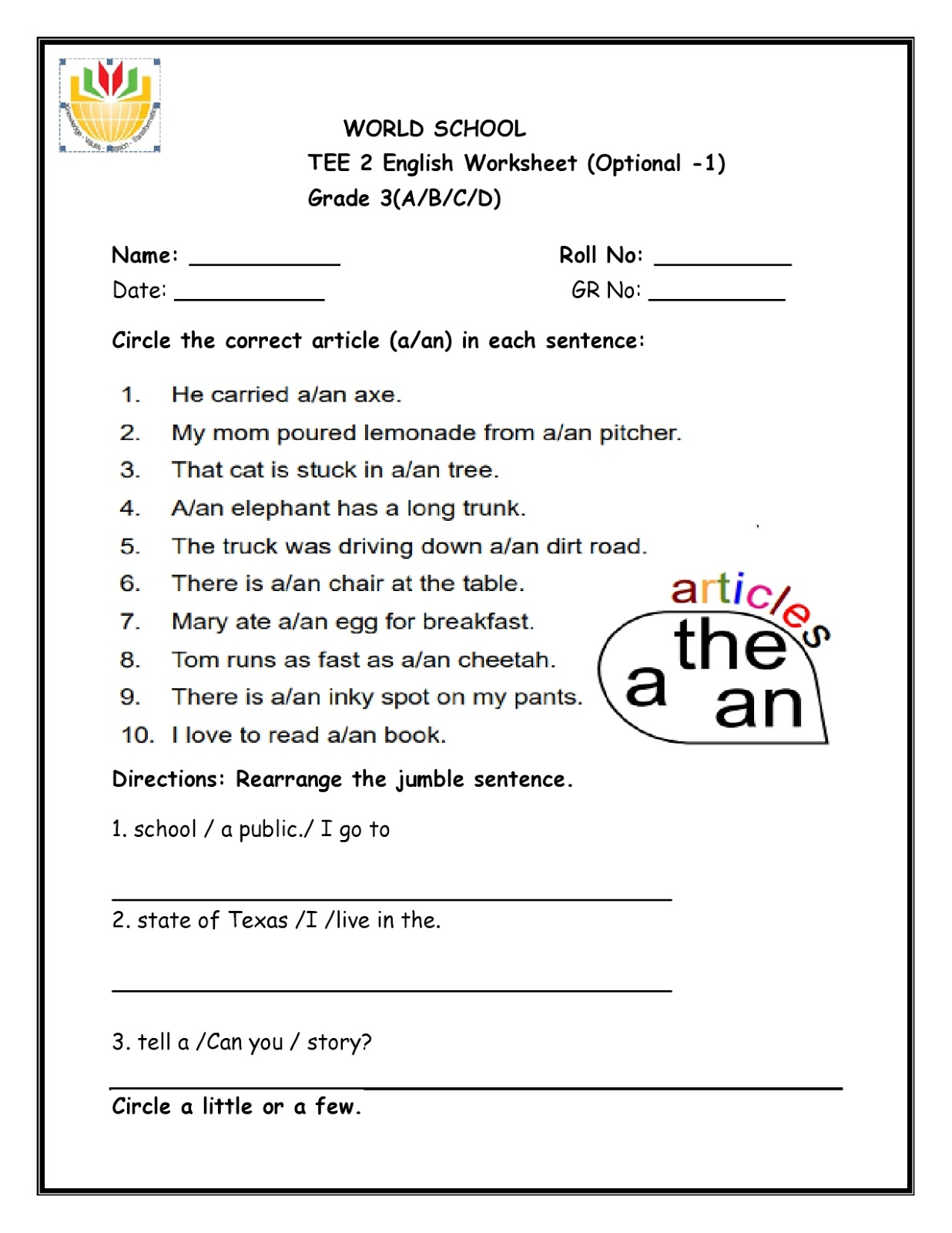 Birla World School Oman Revision Worksheet For Grade 3 As