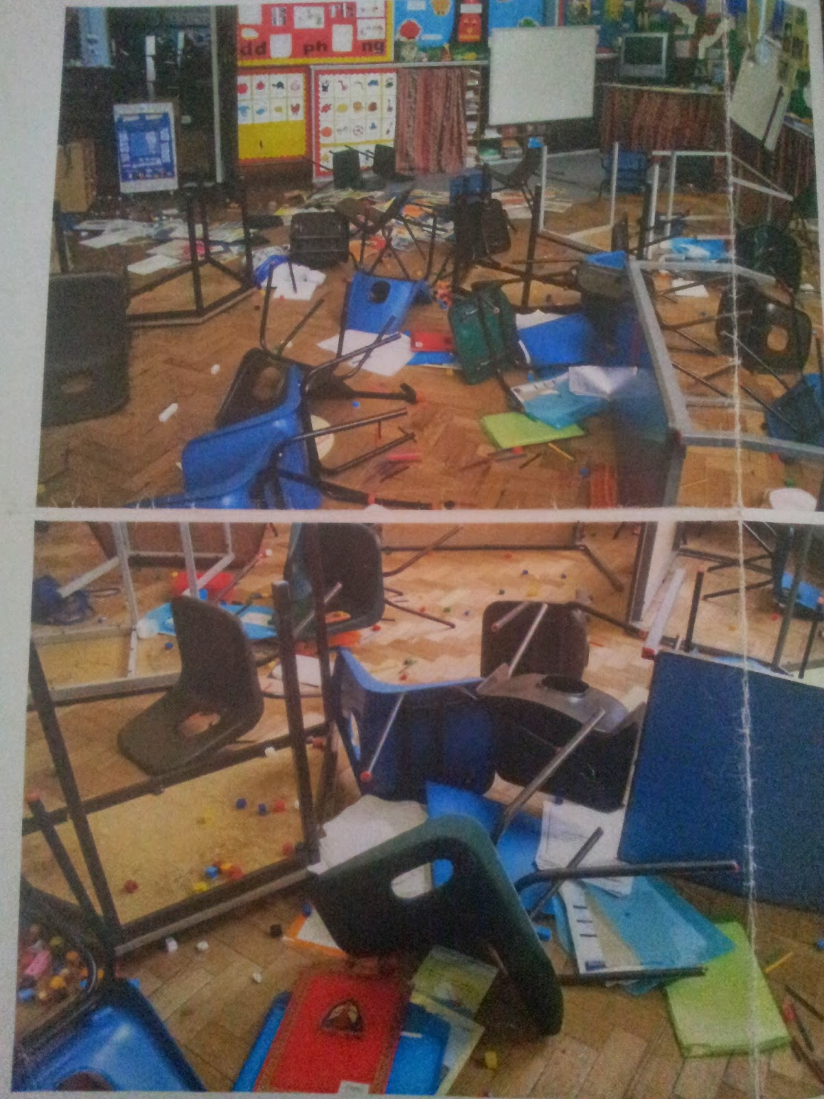 Up-turned tables and chairs. Bools & equipment thrown around.