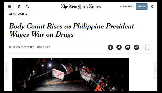 Duterte war on drugs featured in New York Times