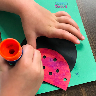 Glue the red ladybug wings on a black circle in this adorable construction paper ladybug craft. Read the post for ladybug storybook and song ideas too! www.speechsproutstherapy.com