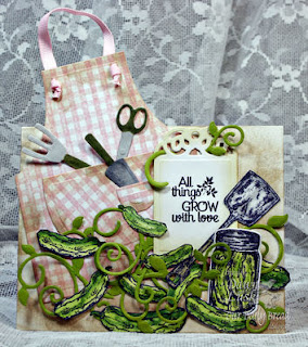 ODBD Products - Pickles, Garden Mini, I Dig You, Garden Sentiments, Blue Ribbon Winner, Gingham Background, ODBD Custom Fancy Foliage Die, ODBD Custom Canning Jars Die, ODBD Custom Apron and Tools Die, ODBD Custom Recipe Card and Tags Die