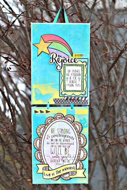 Inspirational Panel Canvas Home Decor featuring Believe Collection and Keeping Tabs Die for BoBunny designed by Rhonda Van Ginkel