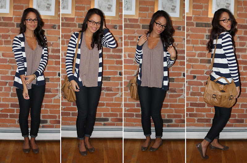 98019e9201b A LITTLE BIT OF LACQUER  Study Outfit  Striped Cardigan and Skinny Jeans