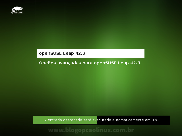 Tela do GRUB, exibindo o openSUSE Leap 42.3