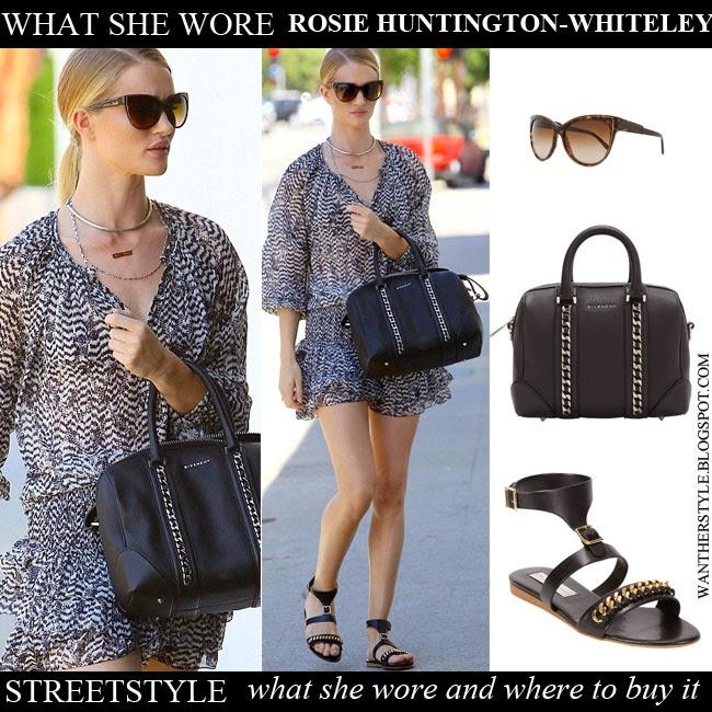 WHAT SHE WORE  Rosie Huntington-Whiteley in mini printed sheer dress ... 562993d9b2ff3