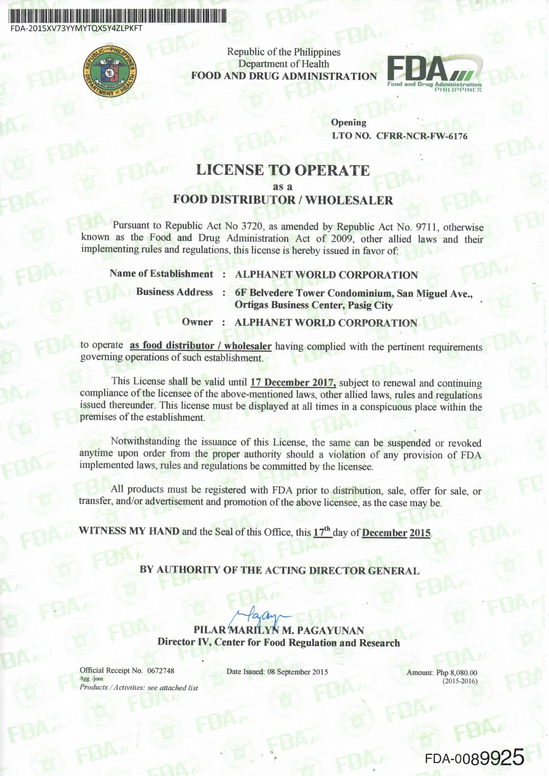 FDA License to Operate as Food Distributor/Wholesaler