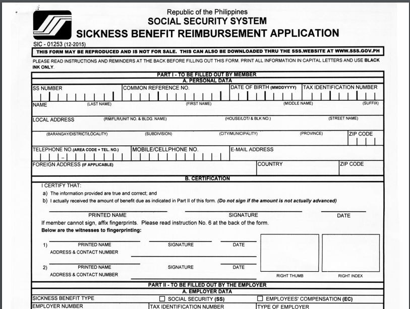 How To Apply Sss Sickness Benefit Or Social Security System  You