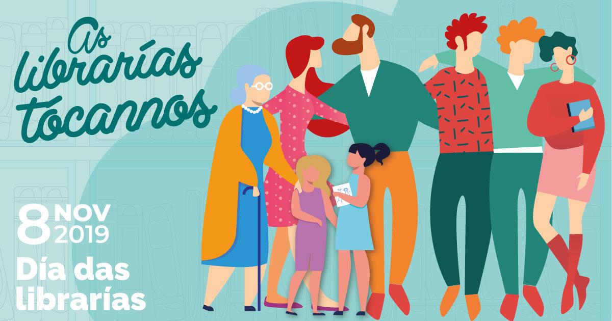 Cartel en gallego del Día de las Librerías
