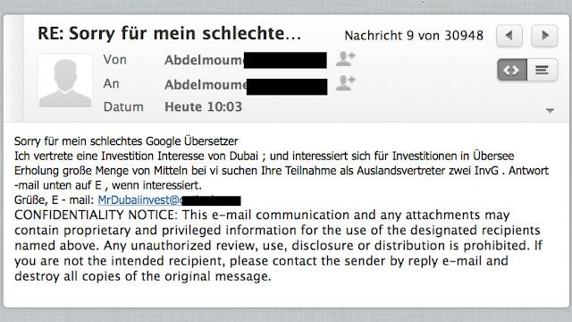Sorry für mein schlechtes Google Übersetzer Ich vertrete eine Investition Interesse von Dubai ; und interessiert sich für Investitionen in Übersee Erholung große Menge von Mitteln bei vi suchen Ihre Teilnahme als Auslandsvertreter zwei InvG . Antwort -mail unten auf E , wenn interessiert. Grüße, E - mail: MrDubaiinvest@...com
