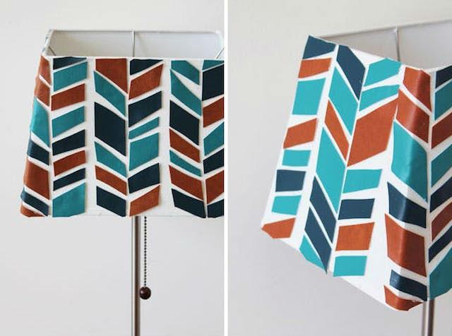 7 DIY para renovar las pantallas de las lámparas. Pantalla de lámpara decorada con cuero
