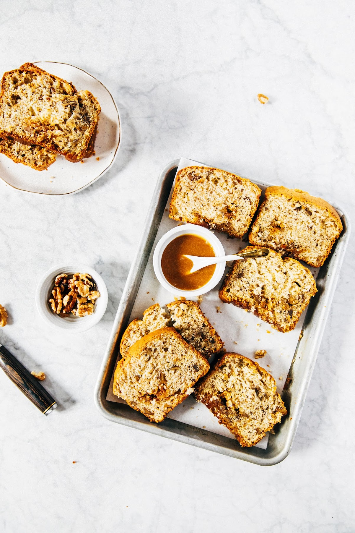 caramel rum banana bread + dining at eleven madison park