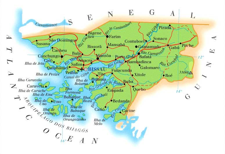 Guiné-Bissau | Mapas Geográficos de Guiné-Bissau