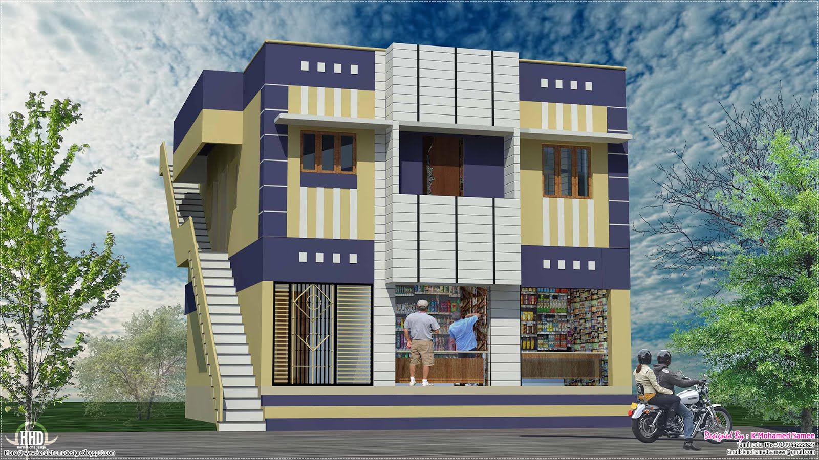 Home with ground floor shops in 2000 sqfeet  Kerala home design and floor plans