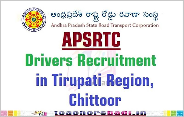APSRTC,Drivers Recruitment,Tirupati Region,Chittoor