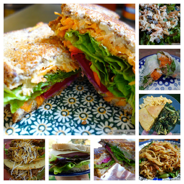 collage of lunch dishes incorporating vegetables and fruits