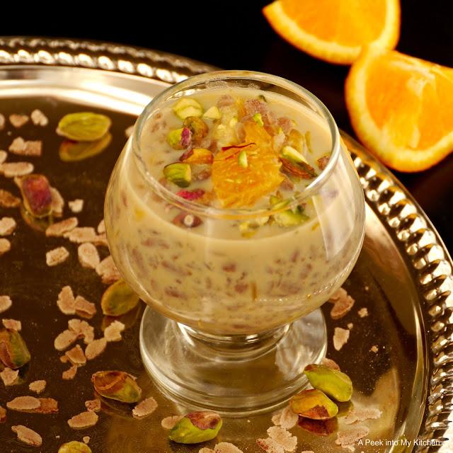 Aval Orange Payasam / Poha (Flattened Rice) Orange Kheer ~ Day 75