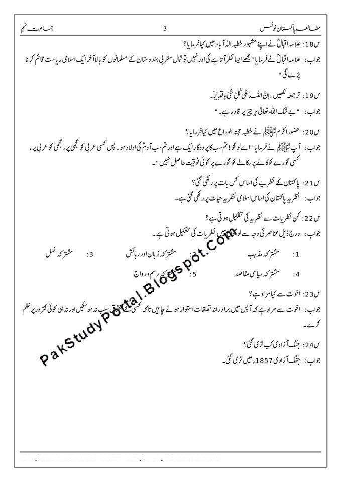 pakistan studies 9th class best notes in urdu