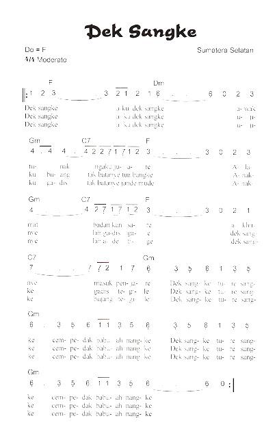 Not Angka Pianika Lagu Dek Sangke (Sumatera Selatan)