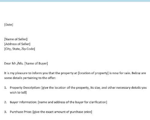 Sale of Property Offer Letter