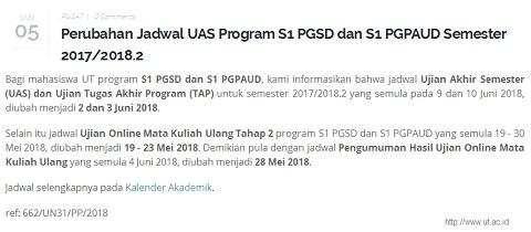 Info Perubahan Jadwal UAS UT Program S1 PGSD dan S1 PGPAUD Semester 2017/2018.2