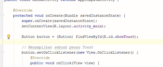 Mendefinisikan baris Syntax dengan tag // Android Studio