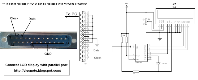 hd44780 lcd display pc parallel port circuit