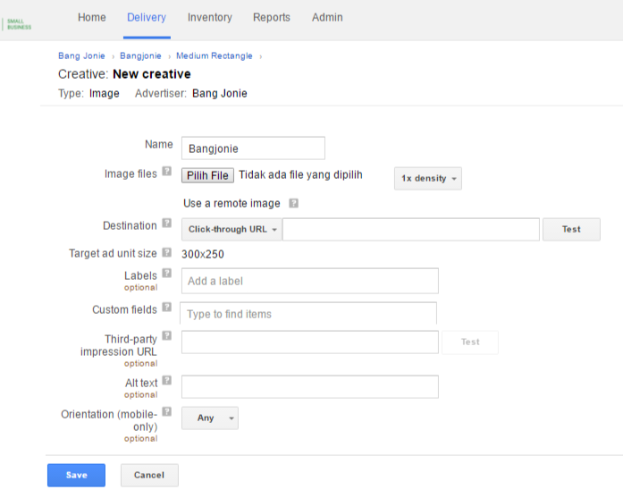 Upload Ad Creatives di Google DFP