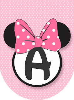 Litere nume pentru ghirlanda botez sau party Minnie Mouse