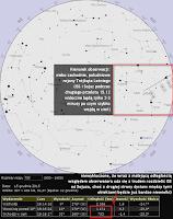Dla zobrazowania słów z aktualizacji przytaczam przykładowo mapę nieba dla Warszawy wygenerowaną w Heavens-Above. Jak widać, podczas drugiego przelotu ISS nie będzie widoczna na całym niebie aż do wschodniego horyzontu, ale zniknie już dwie-trzy minuty po rozpoczęciu widoczności, przemierzając jeden-dwa, a w niektórych regionach trzy gwiazdozbiory, po czym wejdzie w strefę nocy orbitalnej. Jak zawsze podczas przelotu dystans względem obserwatora będzie się znacznie zmieniał, w tym wypadku przy wejściu Stacji w cień wyniesie on nieco ponad 750 km. Sojuz zaś powinien wówczas przebywać około 50-60 metrów od ISS - to może być już zbyt nikła odległość na tle takiego dystansu względem obserwatora, by można rozdzielić oba obiekty gołym okiem, zwłaszcza jeśli warunki obserwacyjne będą dalekie od idealnych. Nie powinno być natomiast problemu z rozdzieleniem przy wykorzystaniu teleskopów lub silniejszych lornetek (choć wówczas problemem będzie jak zwykle bardzo szybkie uciekanie obiektów z pola widzenia).