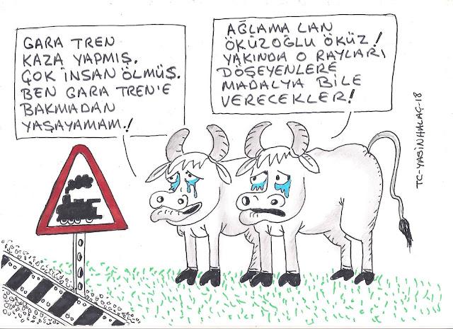 çorlu tren kazası karikatür