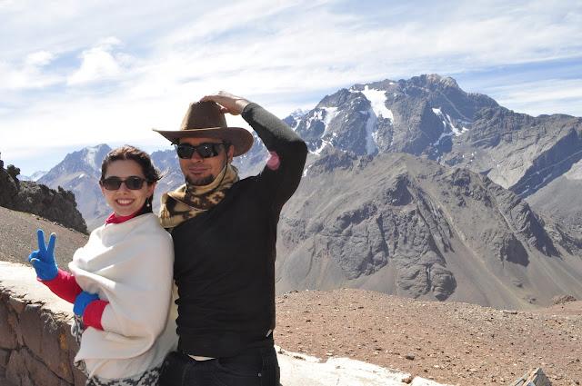 Uma montanha no Cristo Redentor dos Andes.
