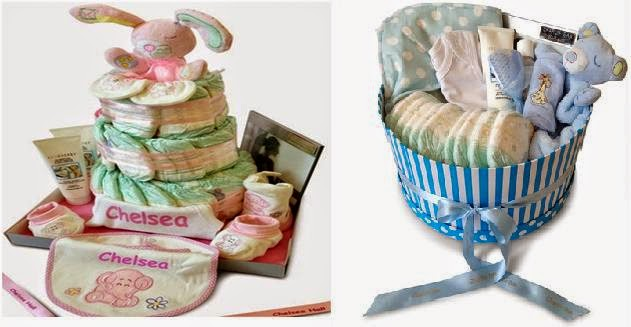 Stunning Personalised Baskets & Nappy Cakes For Baby Shower