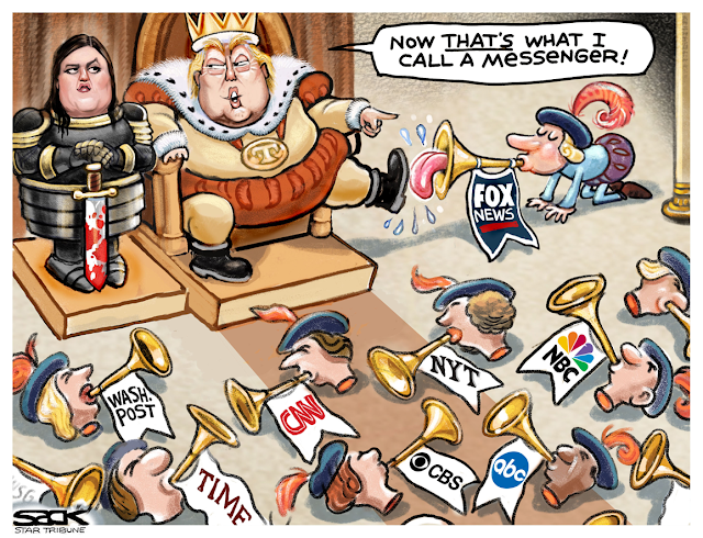 Donald Trump as king on a throne with Sarah Huckabee Sanders, holding a bloodied sword, standing to his right.  In front of him, jesters' heads labeled