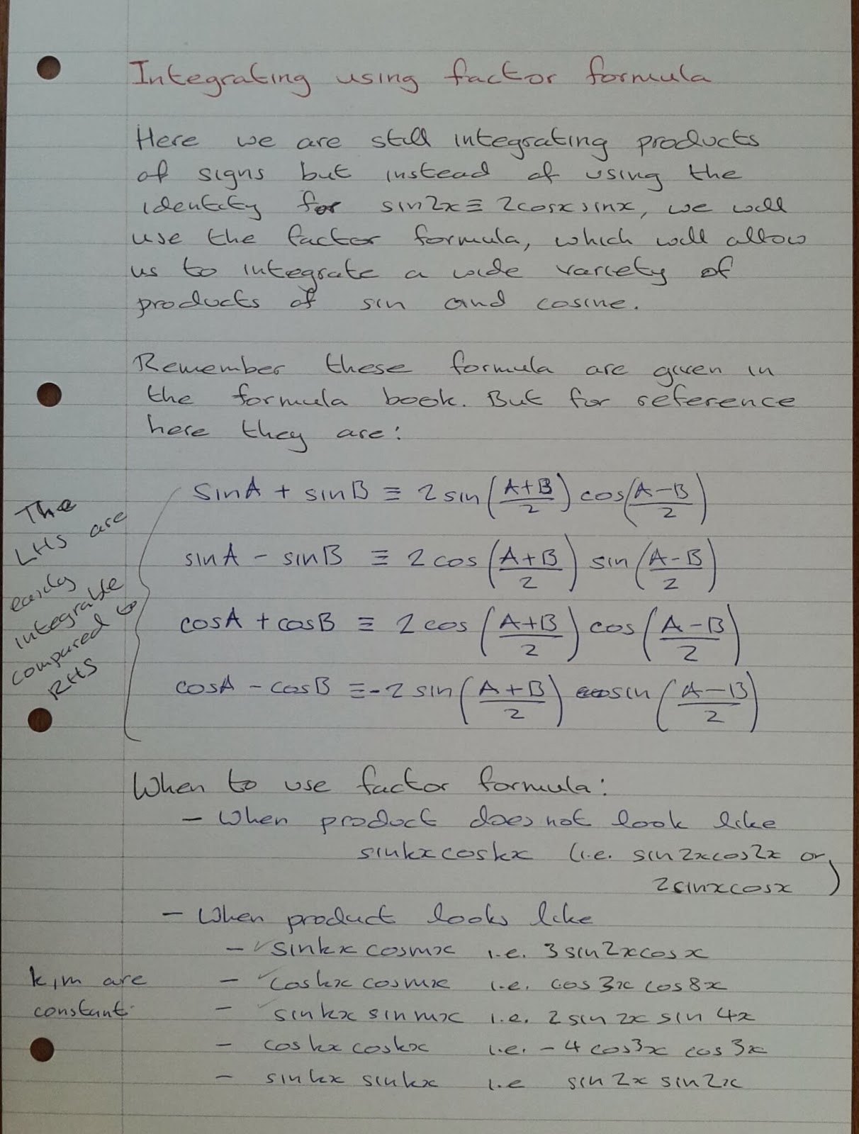 A Level Maths Notes A2 Integration Ii Trigonometric