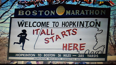 Photo of a sign indicating the start of the Boston Marathon