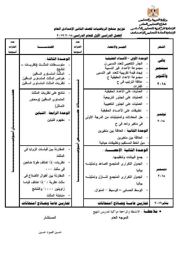 توزيع منهج الرياضيات للمرحلة الإعدادية للعام ٢٠١٨ / ٢٠١٩ 1_003