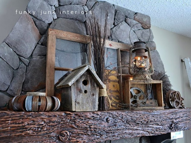 old window, barnwood bird house, crates  / How to decorate a junk style mantel via https://www.funkyjunkinteriors.net