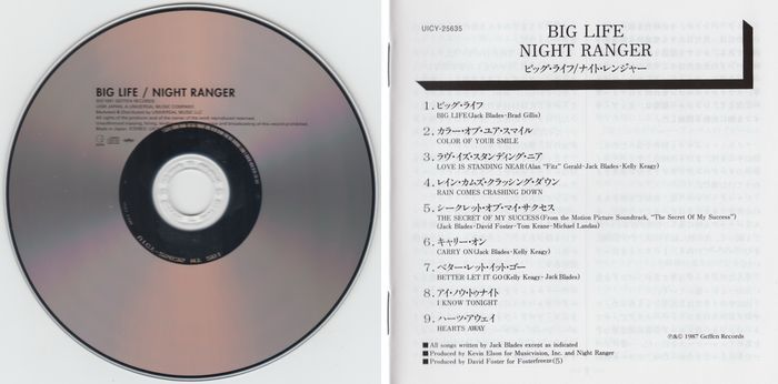 NIGHT RANGER - Big Life [Japan SHM-CD remastered] (2016) disc