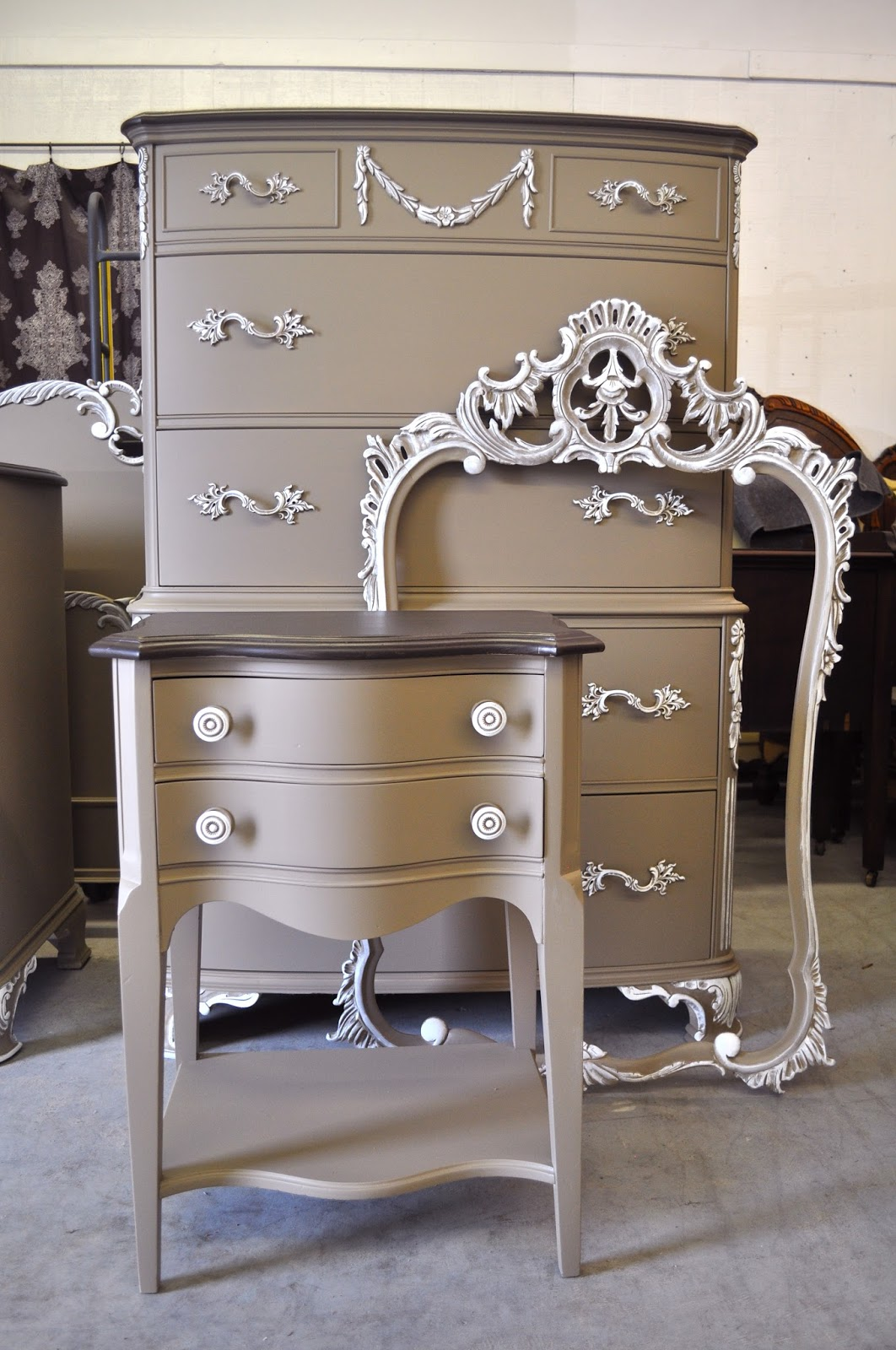 Poised taupe 2017 color of the year decor ideas lolly jane for Refinishing bedroom furniture ideas
