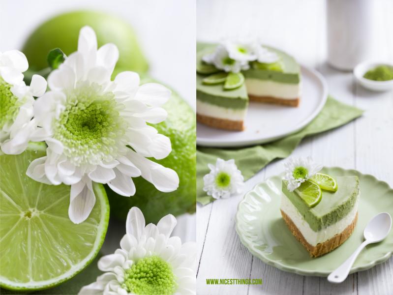 Matcha Cheesecake Matcha Kuchen mit Limetten Kuchendeko grün