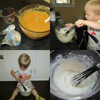 little dude stirring up ingredients for pumpkin squares