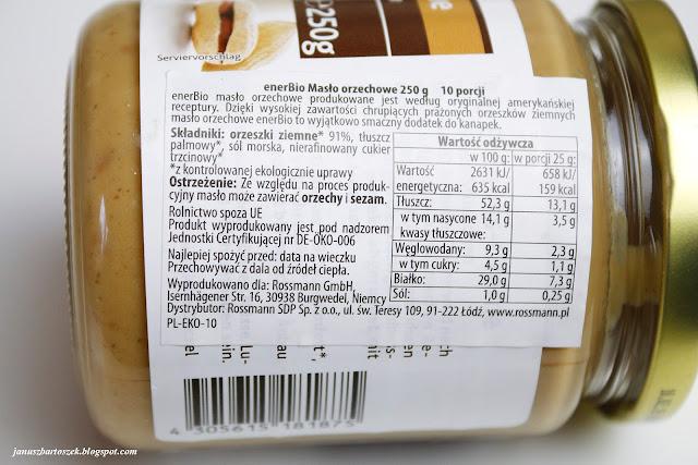 masło orzechowe enerBio etykieta