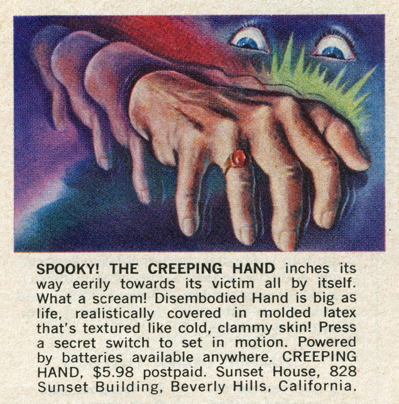 neato coolville cragstan creeping crawling hand ad