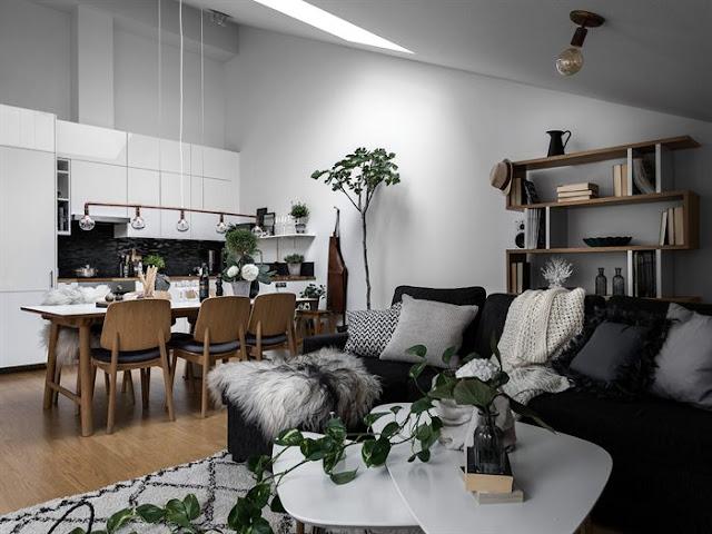 Amenajare scandinavă într-o mansardă de 55 m² din Suedia