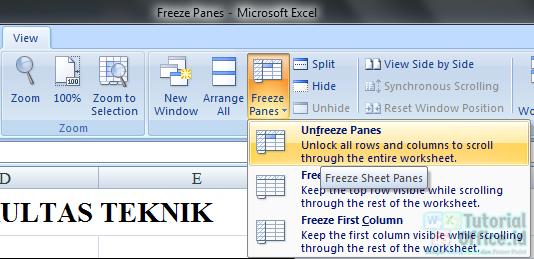 Freeze Panes pada excel