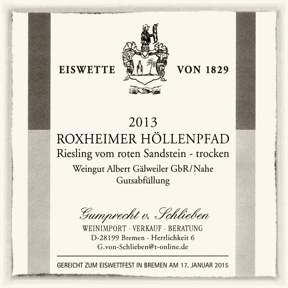 Riesling vom Roten Sandstein Roxheimer Höllenpfad aus dem Weingut Gälweiler in St. Katharinen an der Nahe.