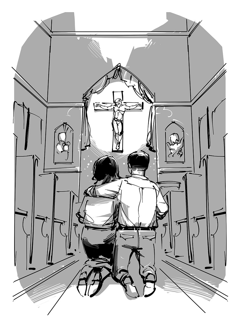 parents praying before christ black and white illustration